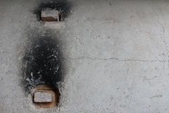 Exterior of an old concrete kiln with fire bricks in the vent holes Stock Photos