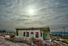 Abandoned Barracks. The exterior of an old English army barracks set at the north edge of the Dead Sea in Israel Stock Photo