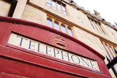Exterior Of Old Fashioned Red Telephone Box In Oxford Stock Photography