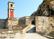 Exterior of Old fortress of Kerkyra city. Royalty Free Stock Photos