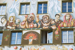 Exterior of the old fresco on the medieval building wall in Lucern, Switzerland. Royalty Free Stock Photo