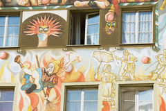 Exterior of the old fresco on the medieval building wall in Lucern, Switzerland. Stock Images