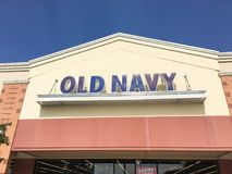 Exterior of Old Navy clothing and accessories retailing company. LEWISVILLE, TX, USA-JUL 1, 2018:Close-up logo facade exterior of Old Navy chain store. Clothing Royalty Free Stock Photography