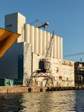 Kristiansand, Norway - November 5, 2017: The exterior of the Kunstsilo, that will become the new art museum in. The exterior of the old silo at Silokaia Royalty Free Stock Photos