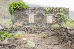 Exterior of old stone house in a medieval village, Frontera, El Stock Photos