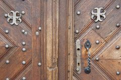 Exterior of the old wooden door in Vilnius, Lithuania. Stock Photos