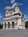 Exterior of ornate church. Front entrance and exterior of an ornate church Royalty Free Stock Images