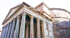 The Pantheon in Rome, Italy. The Exterior of the Pantheon in Rome, Italy Royalty Free Stock Photos