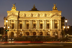 Exterior Of Paris Opera House At Night Stock Image