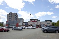 Exterior parking lot view of the Chapters and Starbucks in Dartmouth. Dartmouth, Nova Scotia, Canada- June 15, 2019: Chapters Indigo Large Format store in stock photo