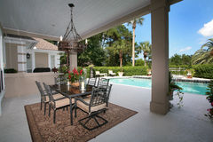 Exterior Patio with Pool Royalty Free Stock Photos