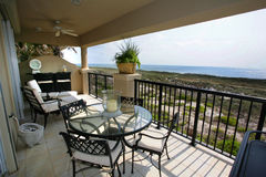 Exterior Patio with View of Ocean. Royalty Free Stock Image
