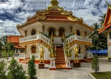 Buddhist Temple Exterior, Wat That Phoun, Laos stock photography