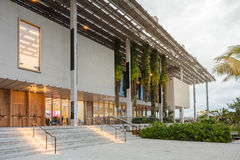 Exterior of Perez Museum in Midtown Miami. MIAMI, FL - DECEMBER 31 2014 - Miami's central art district in the Wynwood and Edgewater neighborhoods features an Stock Image