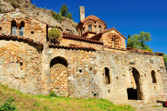 Exterior of PeriBleptos monastery. South view of PeriBleptos Byzantine monastery of the 13th century in Mistras Royalty Free Stock Photos