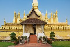 Exterior of the Pha That Luang stupa in Vientiane, Laos. Stock Images