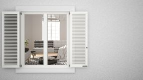 Exterior plaster wall with white window with shutters, showing interior living room, blank background with copy space,. Architecture design concept idea, mockup stock images