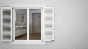 Exterior plaster wall with white window with shutters, showing interior modern bathroom with sink and shower, blank background wit. H copy space, architecture royalty free stock image