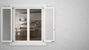 Exterior plaster wall with white window with shutters, showing interior modern kitchen with table, blank background with copy spac Stock Photo