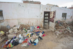 Exterior of poor African house following flooding disaster Stock Photography