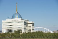 Exterior of the President palace in Astana, Kazakhstan. Royalty Free Stock Photos