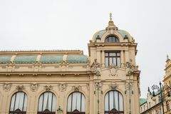 The exterior of a public house or also called a municipal house is one of the attractions of the Republic Square in Stock Image