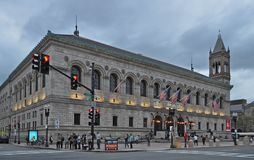 The exterior of the Public Library at Copley in Back Bay Boston Massachusetts. royalty free stock photos
