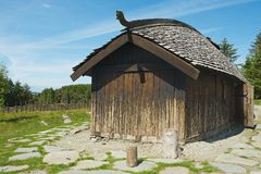 Exterior of the reconstructed traditional Viking house in Kamroy, Norway. Royalty Free Stock Photography