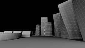 Exterior render of some buildings. With black background Royalty Free Stock Photo