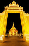 The exterior of Royal Palace Cambodia at night, Phnom Penh, Cambodia. The Royal Palace is a complex of buildings which serves as the royal residence of the Stock Photos