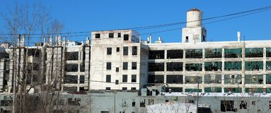 Exterior of ruined abandoned building in Detroit. Motor City in Michigan royalty free stock photography