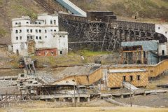 Exterior of the ruined coal mine in the abandoned Russian arctic settlement Pyramiden, Norway. Stock Photo