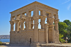TEMPLE OF PHILAE. Exterior of ruined temple of Philae on island in center of Nile river, Egypt Royalty Free Stock Photos