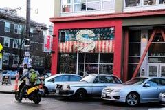 Exterior of Sam`s Tavern in Seattle, Washington stock photo