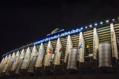 Exterior of the Santiago Bernabeu stadium in Madrid, the home of Real Madrid soccer team stock photography