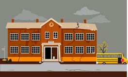 Education crisis hits schools. Exterior of a school building in poor shape in need of repair, EPS 8 vector illustration royalty free illustration
