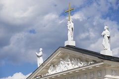 Exterior of the sculptures at the roof top of the Cathedral in Vilnius, Lithuania. Stock Images