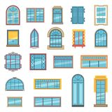 Exterior set of different plastic or wooden windows for apartment Stock Photos