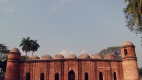 Exterior of the Shat Gombuj Mosque in Bagerhat, Bangladesh. stock video footage
