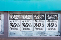 Exterior Of Shop With Closing Down Notice In Window Stock Photography