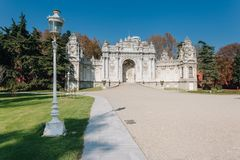 Gate of The Sultan, Dolmabahce Palace, Istanbul, Turkey. Exterior shot of Gate of The Sultan at Dolmabahce Palace. The Palace served as the main administrative stock photos
