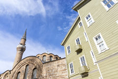 Exterior shot of an old Istanbul house and Kalenderhane Mosque, Istanbul, Turkey Royalty Free Stock Photo