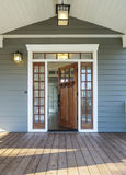 Exterior shot of an open Wooden Front Door stock images
