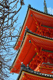 Exterior shot of roof Japan temple. With blue sky Stock Photo