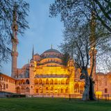 Exterior shot of Sultan Ahmed Mosque Blue Mosque after sunset, Istanbul, Turkey Royalty Free Stock Images