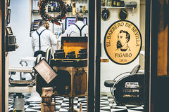 Exterior shot of vintage barbershop Royalty Free Stock Photography
