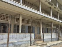 Exterior of The Tuol Sleng Genocide Museum. Exterior showing the facade of the cells in the museum Stock Image