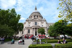 Exterior side view of St Paul`s Cathedral, London. LONDON, ENGLAND - JUNE 10, 2017 - Exterior side view of St Paul`s Cathedral, London royalty free stock images