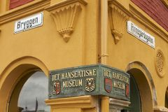 Exterior sign of the Hanseatic museum entrance in Bergen, Norway. Royalty Free Stock Image
