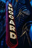 The exterior sign of Hotel Shocard at Times Square in New York. The exterior sign of Hotel Shocard at Times Square in New York at night with a blue tint stock photos